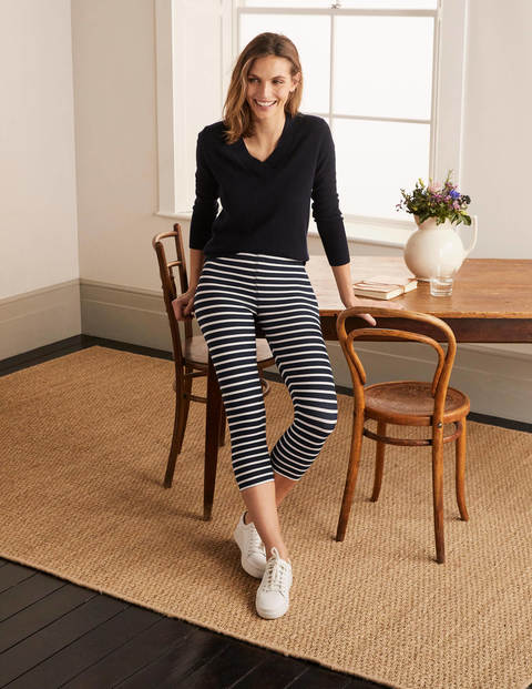 Favourite Cropped Leggings - Navy and Ivory Stripe