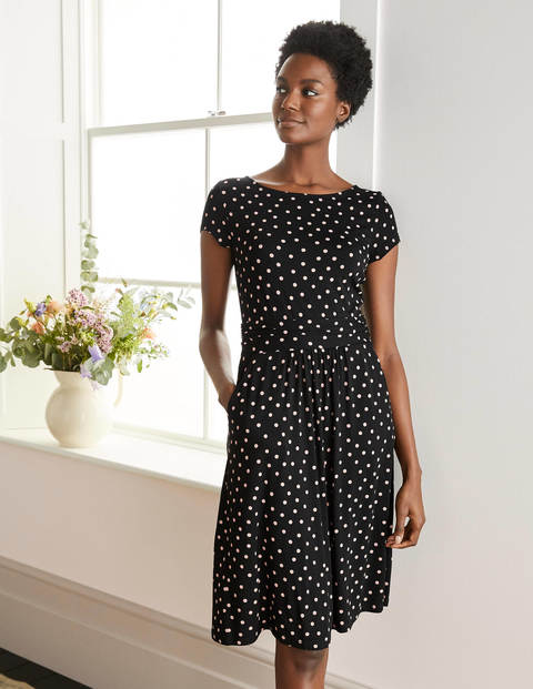 Amelie Jersey Dress - Black/ Chalky Pink Spot