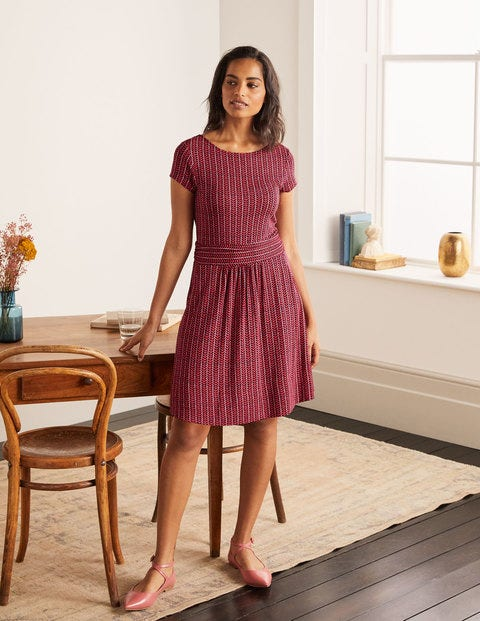 Amelie Jersey Dress - Cherry Red, Chevron Twist