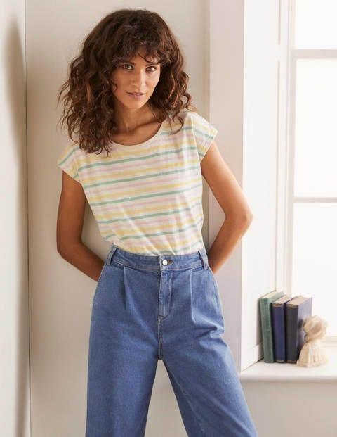 Robyn Jersey Tee - Multi Faded Stripe