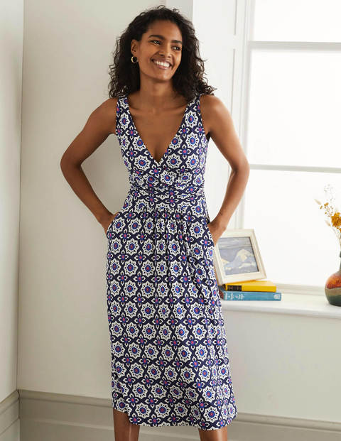 Effie Jersey Dress - Mariner Blue, Mosaic Stamp