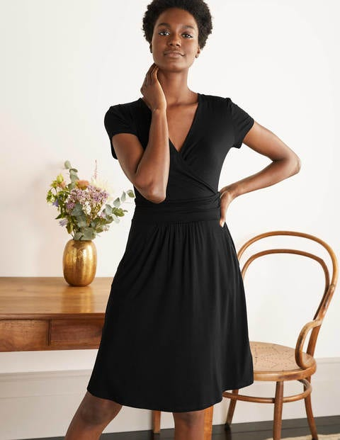 Lola Black Jersey Wrap Dress