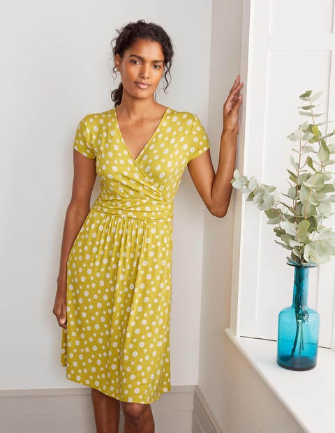 Lola Yellow Daisy Print Jersey Wrap Dress