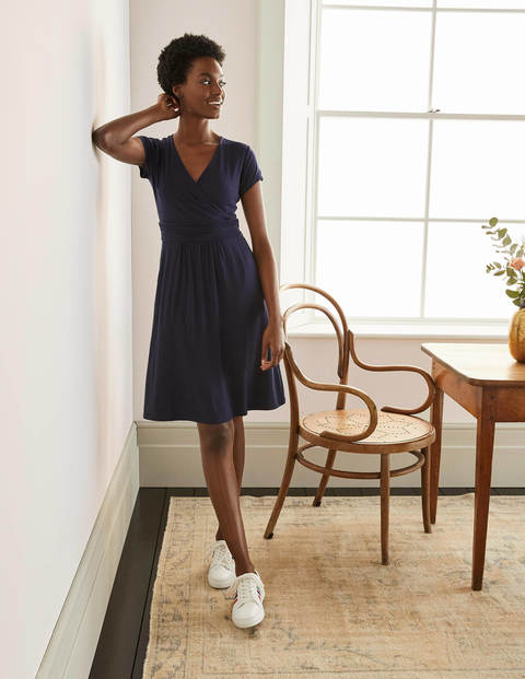 Lola Navy Jersey Wrap Dress