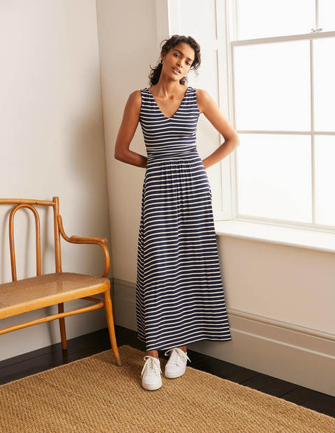 Sienna Jersey Maxi Dress - Navy/Ivory