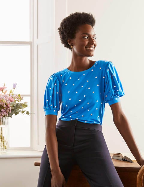 Holly Puff Sleeve Jersey Top - Moroccan Blue, Polka Dot