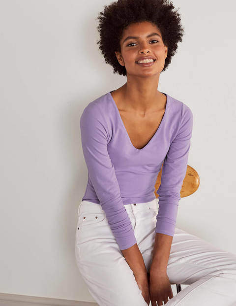 Double Layer V-neck Top - Cool Violet