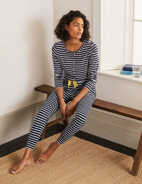 Alba Jersey Pajama Bottoms - Navy and Ivory Stripe
