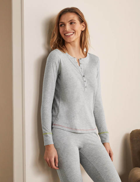 Alba Jersey Pajama Top - Grey Marl