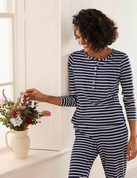 Alba Jersey Pyjama Top - Navy and Ivory Stripe