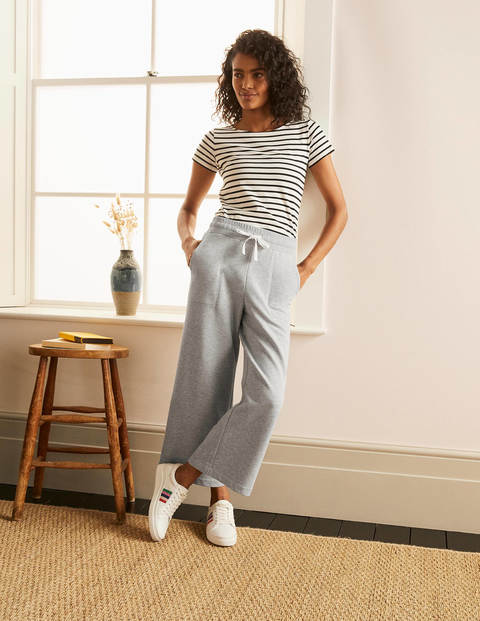 Thelma Cropped Jersey Joggers - Grey Marl