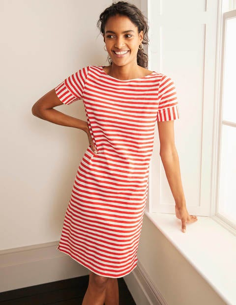 Darcey Jersey T-shirt Dress - Cherry Red/ Ivory