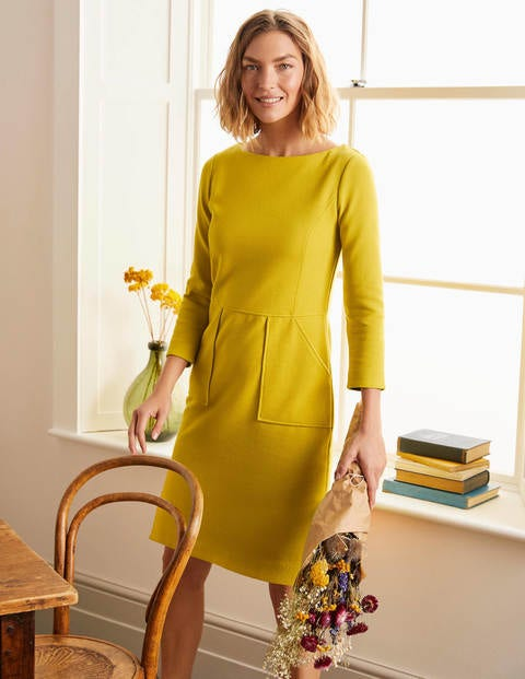 Vintage Style Dresses | Vintage Inspired Dresses Auria Ottoman Dress Yellow Boden Yellow £70.00 AT vintagedancer.com
