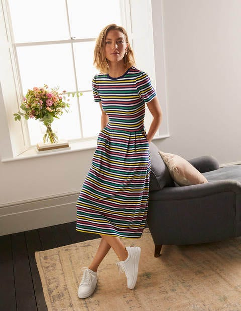 Lucinda Jersey Midi Dress - Multistripe