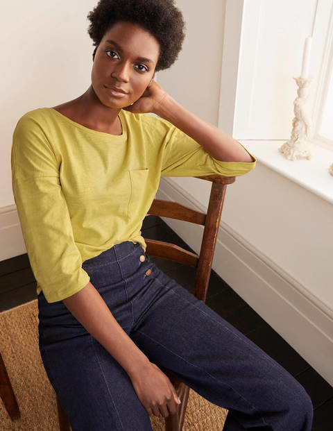 The Cotton Boxy Boatneck Tee - Pineapple