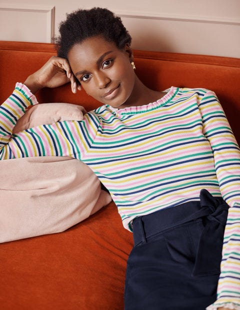 Elisa Rib Top - Multi Stripe