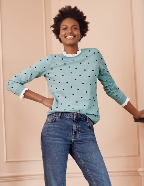 Holly Jersey Sweatshirt - Ice Blue, Polka Dot