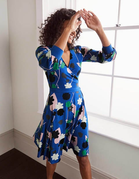 Edie Jersey Wrap Dress - Summit, Floral Press