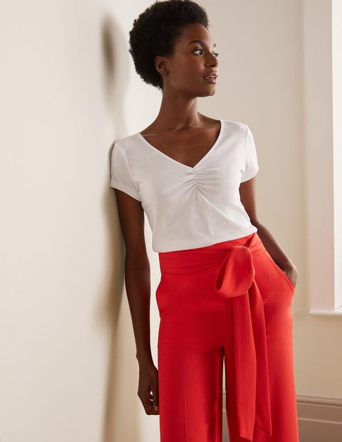Supersoft Ruched V-neck Tee - White