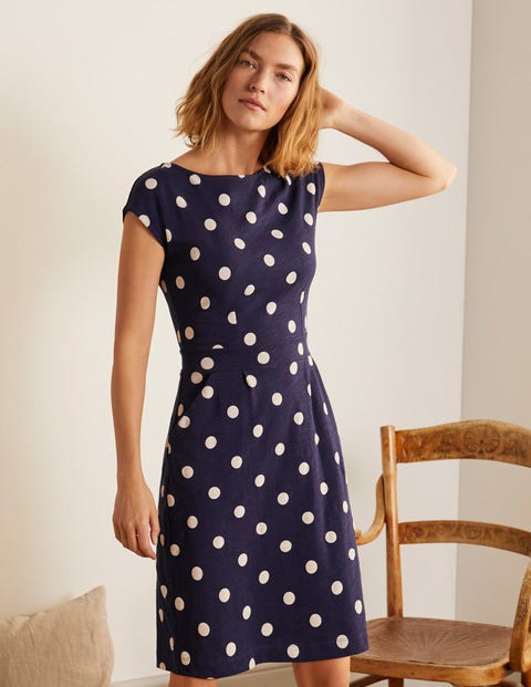 Florrie Jersey Dress - Navy, Regular Dot Medium