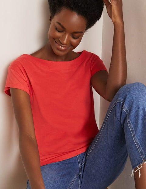 Superweiches T-shirt mit U-Boot-Ausschnitt RED Damen Boden, RED