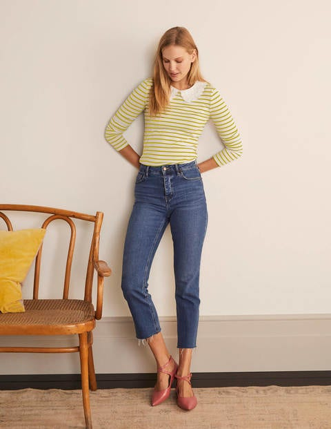 Kathleen Jersey Top - Ivory/ Chartreuse