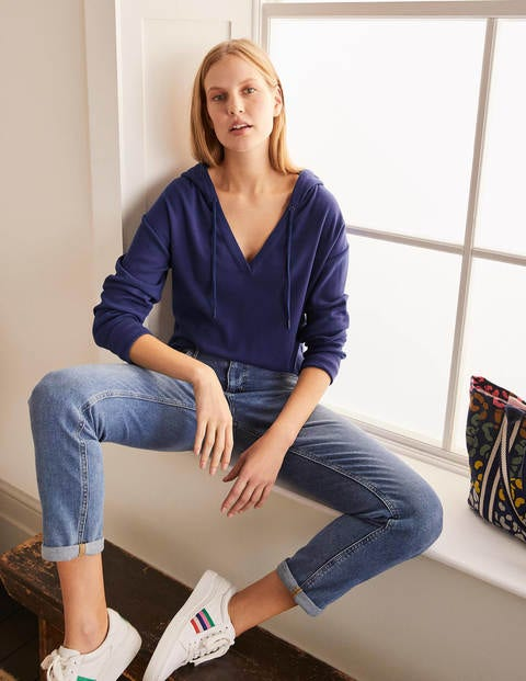 Notch Neck Soft Jersey Hoodie