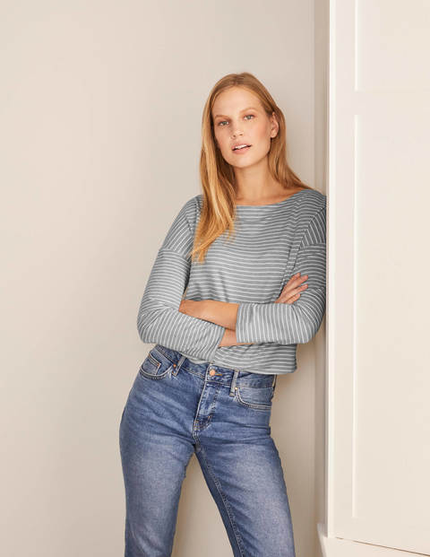 Katrina Jersey Top - Grey Marl/ Ivory