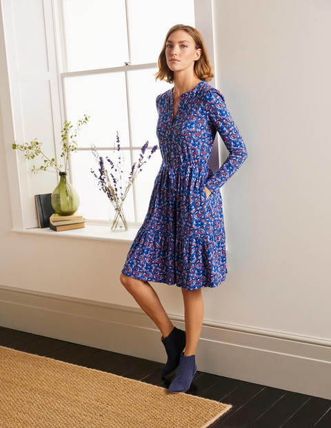 Nancy Tiered Jersey Dress - Summit, Floral Paisley
