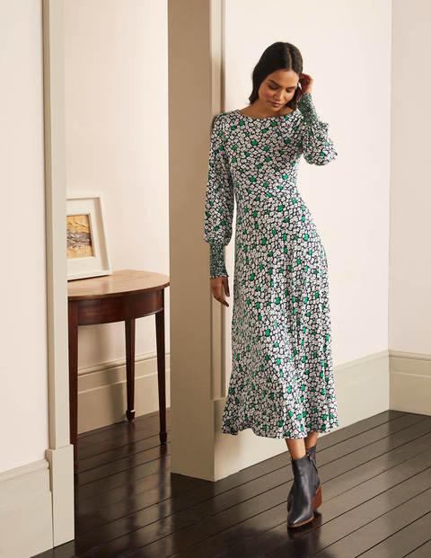 Naomi Smocked Jersey Dress - Navy, Floral Pop