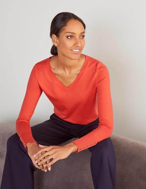 Eldon V-neck Sweater - Cherry Red