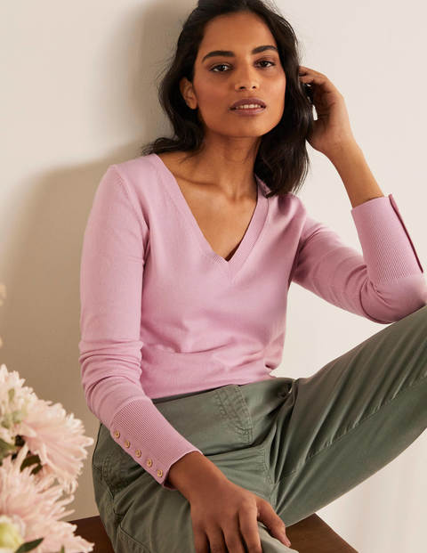 Eldon Cotton V-neck Jumper - Soft Peony