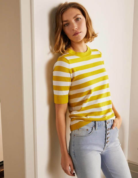 Abingdon Cotton Knitted Tee - Chartreuse/Ivory
