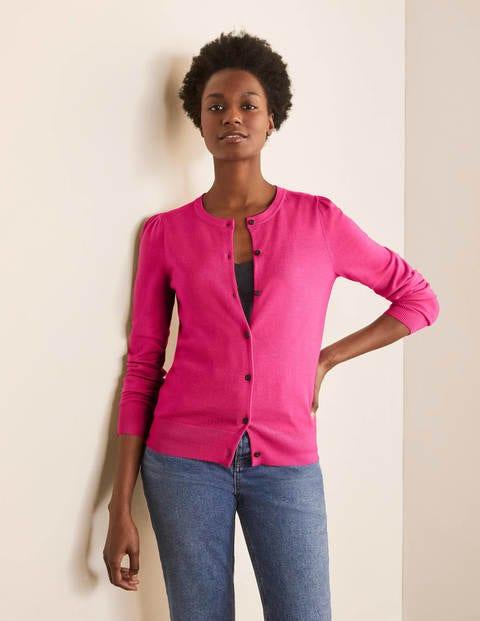 Stowe Merino Cardigan - Pink Flambe
