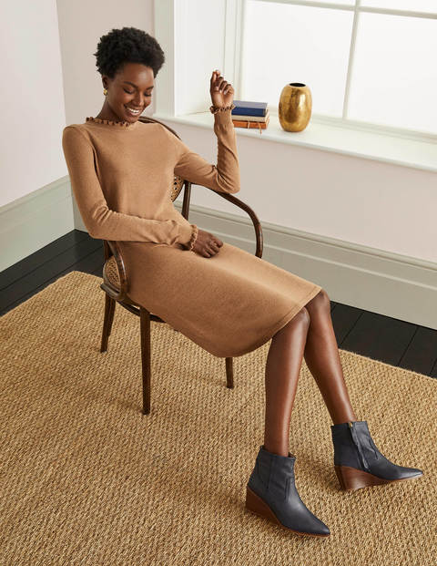 Lara Knitted Dress - Camel Melange