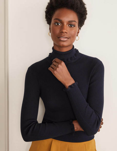 Frill Cotton Roll Neck Jumper - Navy