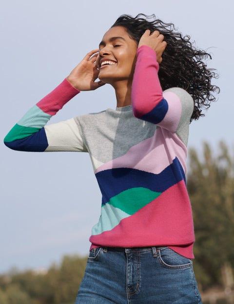 Multi Block Colour Kesteven Cashmere Jumper - Grey Melange, Landscape