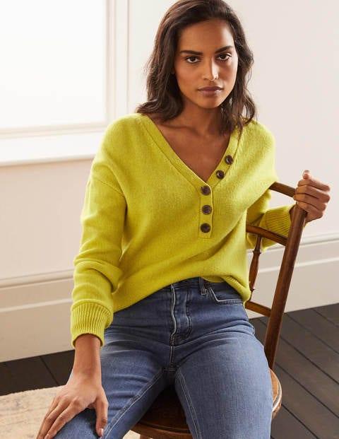 Walberswick Henley Sweater - Chartreuse