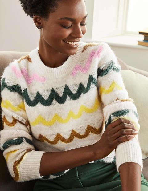 Effingham Flauschiger Pullover - Weihrauch, Gewellte Streifen