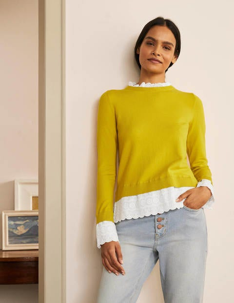 Lauderdale Frill Sweater - Chartreuse