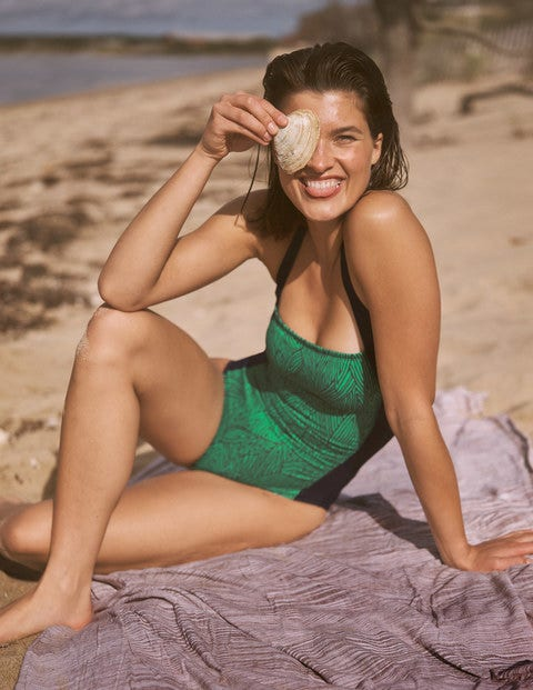 Minori Swimsuit - Rich Emerald, Tropical Leaf