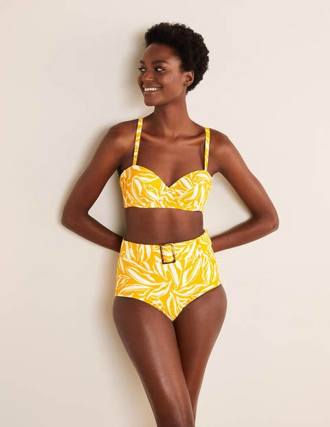 1960s Style Clothing & 60s Fashion Kythira Cup-size Bikini Top Yellow Women Boden Yellow £40.00 AT vintagedancer.com