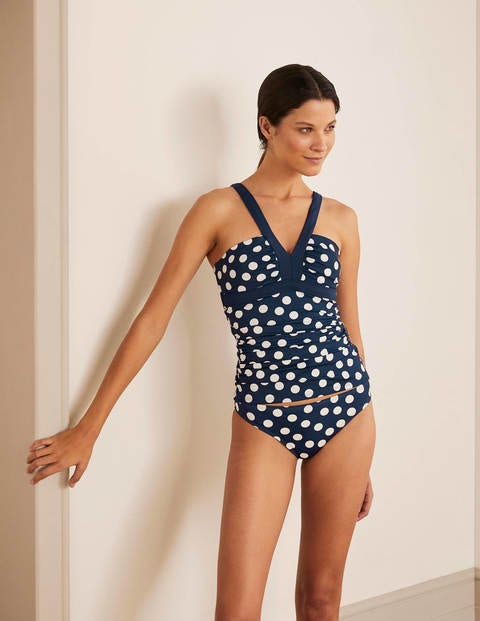 Corsica Tankini Top - French Navy, Scattered Dot
