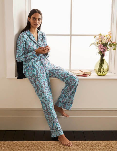 Janie Pajama Bottoms - Frost, Fanciful Peacock