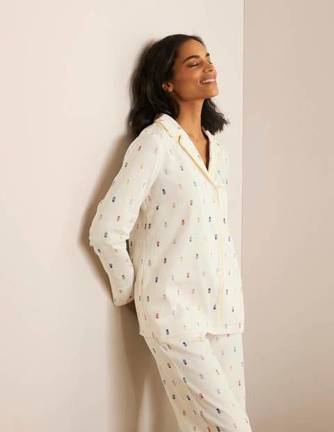 Janie Pyjama Shirt - Ivory, Pineapple Rainbow