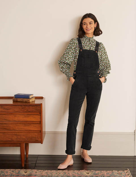 Girlfriend Dungarees - Washed Black