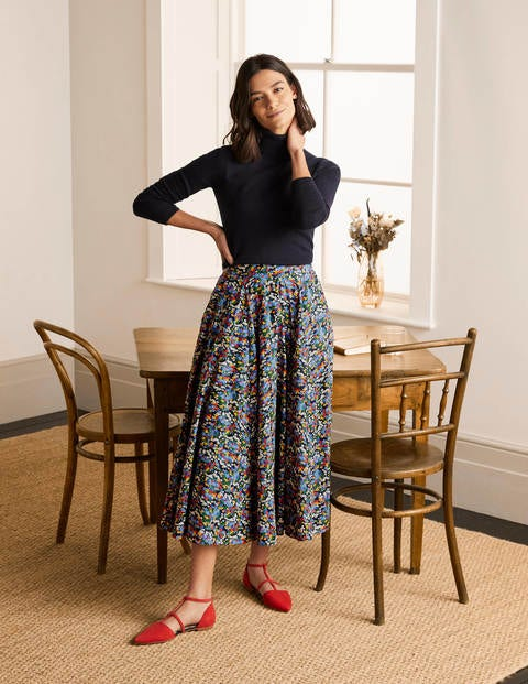 Corinne Full Skirt - French Navy, Ditsy Field