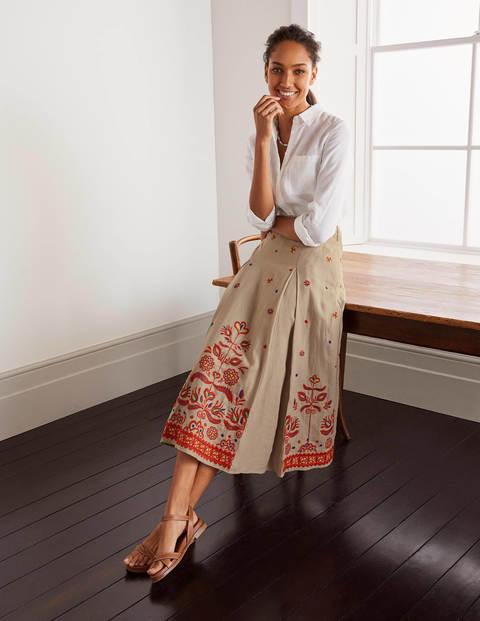 Cora Embroidered Linen Skirt - Linen