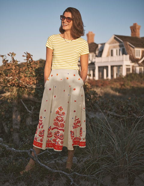 Cora Embroidered Linen Skirt - Linen