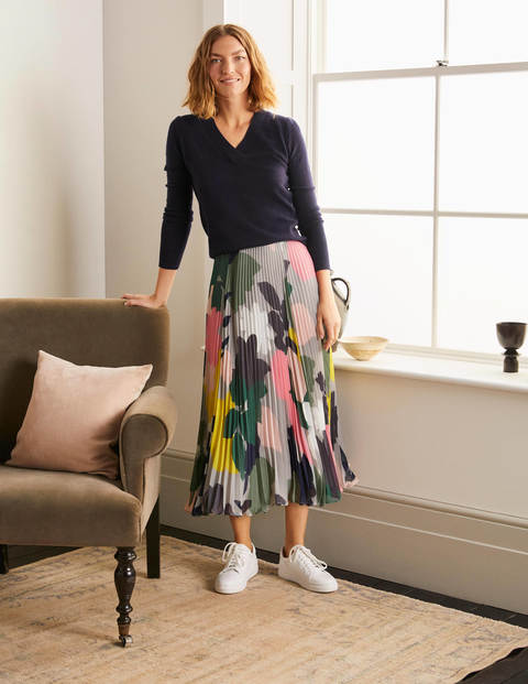 Louisa Pleated Midi Skirt - Grey Squirrel, Pressed Bloom
